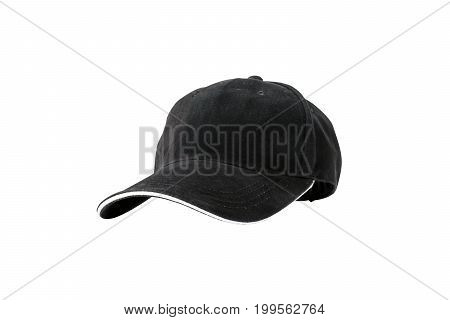 Black baseball cap isolated on white background with clipping path concepts of beauty fashion and sport object.