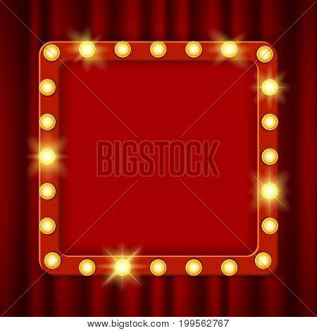 Shining party banner on red curtain background. Suspended glowing signboard, Cinema billboard. Signboard-background with lamps along the border for lottery, casino, poker, roulette Vector illustration