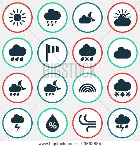 Weather Icons Set. Collection Of Douche, Sun-Cloud, Wet And Other Elements