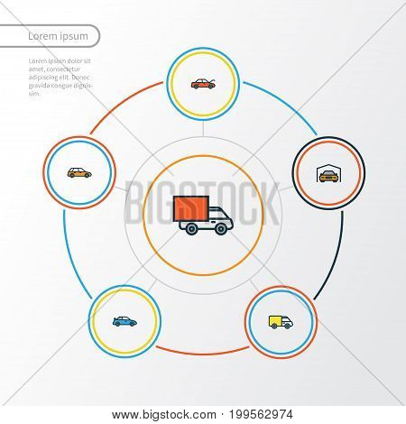 Car Colorful Outline Icons Set. Collection Of Van, Machine, Shed And Other Elements