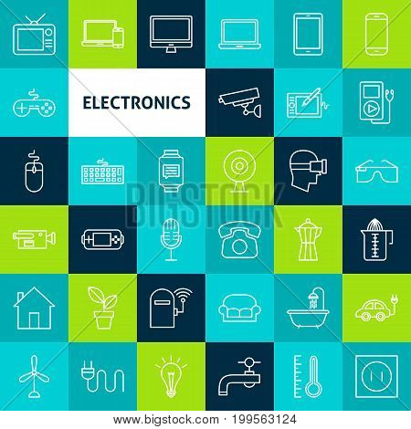 Vector Line Electronics Icons. Thin Outline Household Appliance Symbols over Colorful Squares.