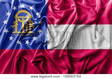 Ruffled waving United States Georgia flag national flag