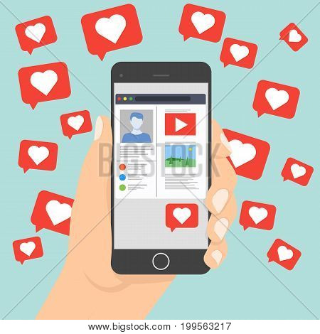 Likes notification icon vector leaving the smartphone on social network, love symbol for your design, website, logo, application. Social network notifications on mobile phone screen. Social networking