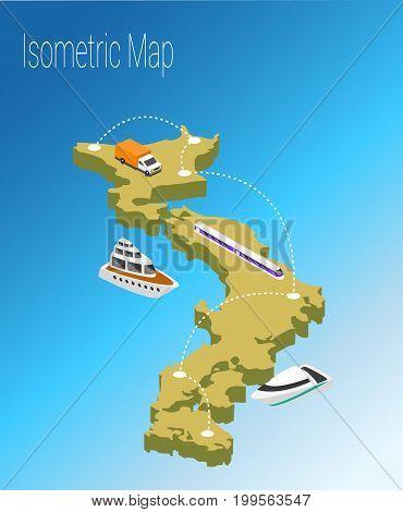 Map Japan isometric concept. 3d flat illustration of Map Japan.