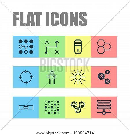 Robotics Icons Set. Collection Of Information Base, Solution, Cyborg And Other Elements