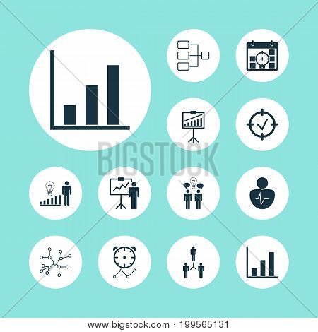 Board Icons Set. Collection Of Special Demonstration, Conversation, Bar Chart And Other Elements