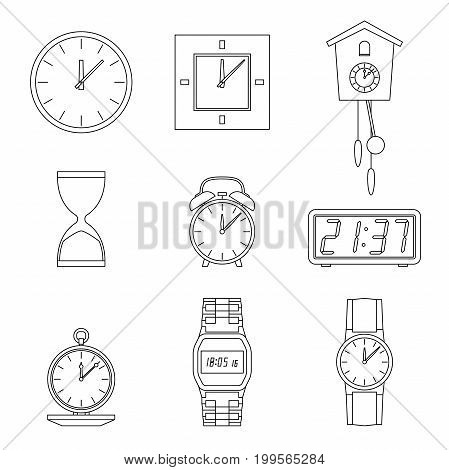 Clock and watches line icons set. Different types of clocks and watches.