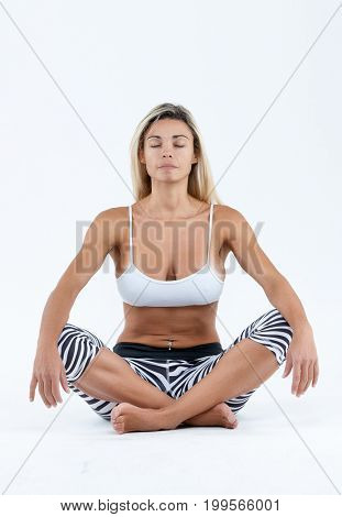 Happy woman fitness isolated