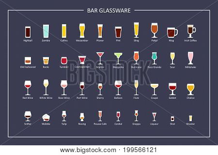 Bar glasses types guide, flat icons on dark background. Horizontal orientation. Vector illustration