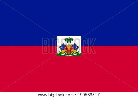 Flag Haiti flat icon. State insignia of the nation in flat style on the entire page. National symbol in the form of a vector illustration