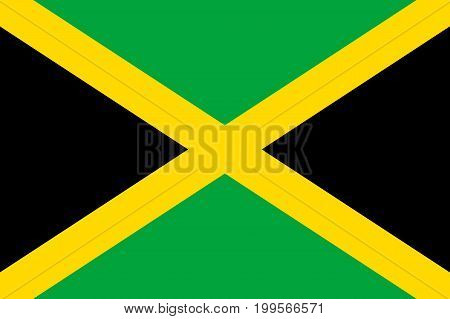 Flag Jamaica flat icon. State insignia of the nation in flat style on the entire page. National symbol in the form of a vector illustration