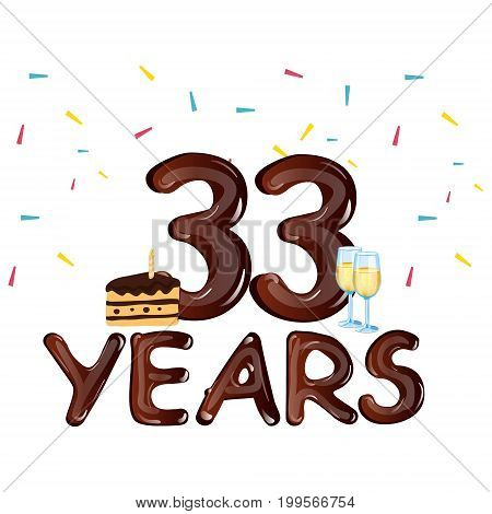 33 year Happy Birthday Card with cake. Vector illustration