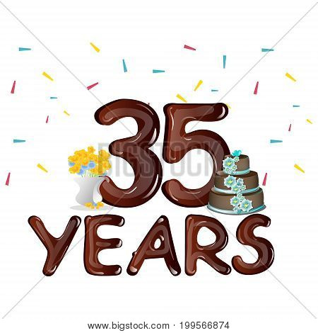 Happy Birthday thirty five 35 year. Vector illustration