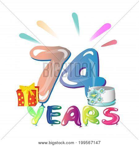 74 years anniversary celebration greeting card. Vector illustration