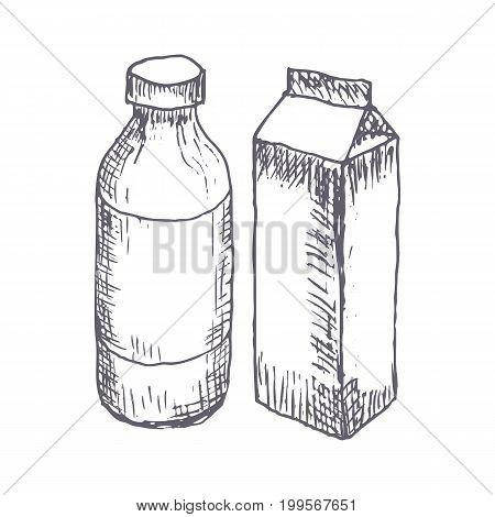 Milk hand drawn vector illustration. Vector template