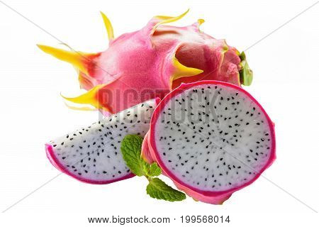 Dragon fruit and dragon fruit slice on isolated background.