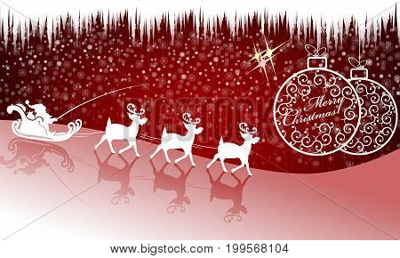 Christmas red background, Santa Claus rides on deer and Christmas balls with text in retro style
