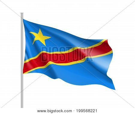 Democratic Republic of the Congo flag. Illustration of Asian country waving flag on flagpole. Vector 3d icon isolated on white background. Realistic illustration