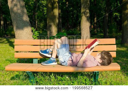 Boy Is Lying On A Bench In The Park And Reading A Book