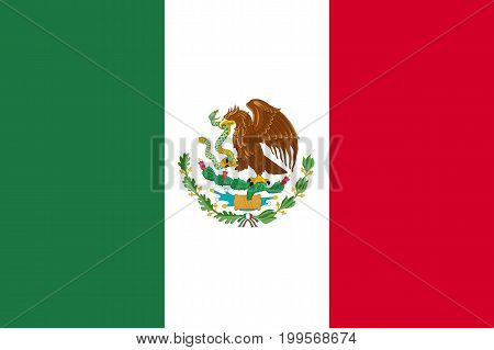 Flag Mexico flat icon. State insignia of the nation in flat style on the entire page. National symbol in the form of a vector illustration