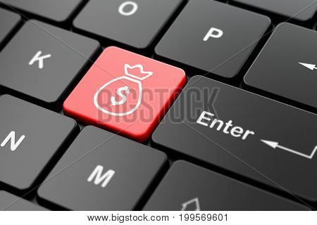 Money concept: computer keyboard with Money Bag icon on enter button background, 3D rendering