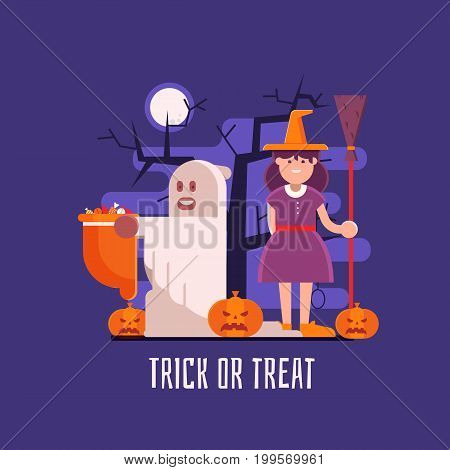 Halloween background with trick-or-treat children in costumes of ghost and witch with candy bag. Halloween card or banner concept with trick or treaters kids and pumpkins by moon night.