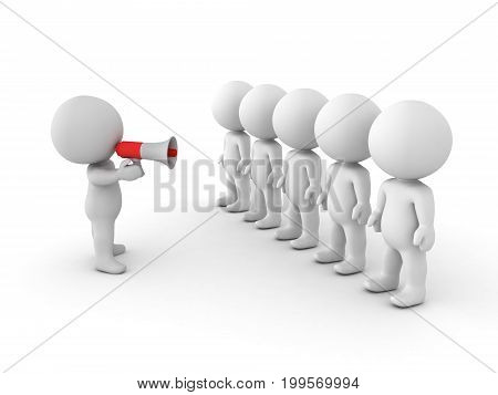 3D Characters sitting in line with one of them in front talking with bullhorn. Isolated on white.