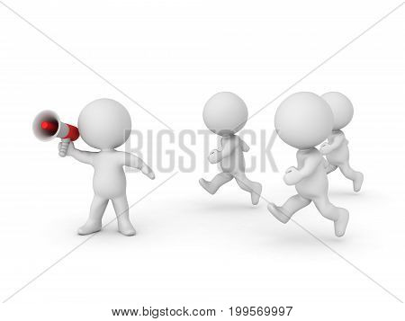 3D Character leading and giving direction with bullhorn. Isolated on white.