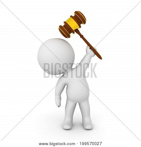3D Character holding gavel above his head. Isolated on white.