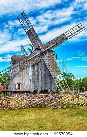 Saarema Island, Estonia: Angla windmills in Leisi Parish in the summer