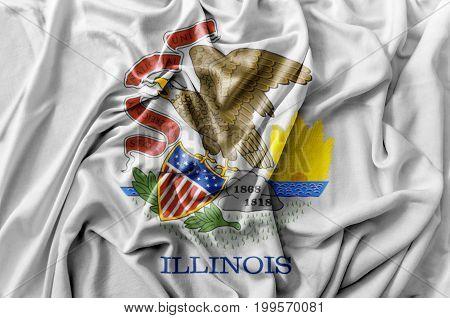 Ruffled waving United States Illinois flag national