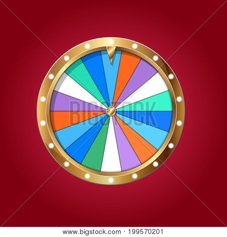 Realistic 3d spinning fortune wheel template isolated on red Casino online Illustration Eps 10