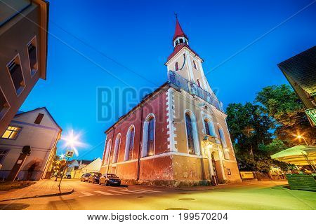 Parnu, Estonia, Baltic States: the old town and St. Elizabeths Church at night
