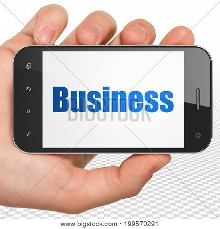 Business concept: Hand Holding Smartphone with blue text Business on display, 3D rendering