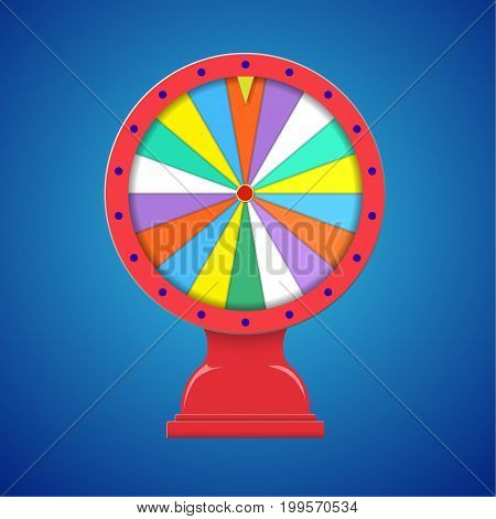 Wheel of fortune with stand flat template isolated on Illustration Eps 10