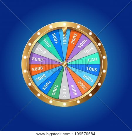 Realistic 3d spinning fortune wheel isolated on blue Illustration Casino online Eps 10