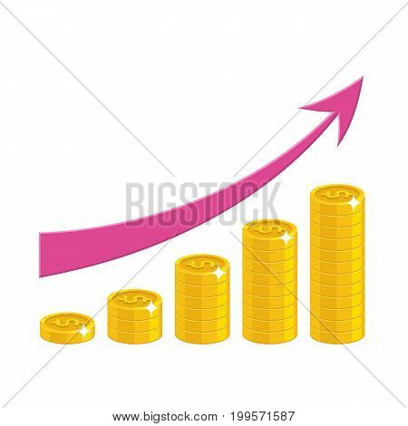 Profit growth cartoon style isolated. The increase of profit in gold dollars for designers and illustrators. Gold pieces income growth in the form of a vector illustration
