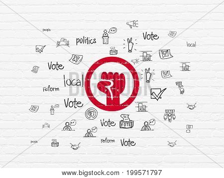 Political concept: Painted red Uprising icon on White Brick wall background with  Hand Drawn Politics Icons