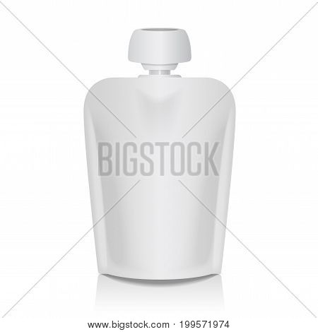 White Blank Flexible Pouch With Big Top Cap For Baby Puree. Food Or Drink Bag Packaging Template for your design