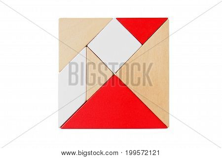 Square shape made from tangram tans isolated on white