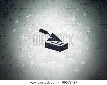 Building construction concept: Painted black Brick Wall icon on Digital Data Paper background with  Hand Drawn Construction Icons