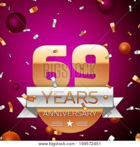 Realistic Sixty nine Years Anniversary Celebration Design. Golden numbers and silver ribbon, confetti on purple background. Colorful Vector template elements for your birthday party