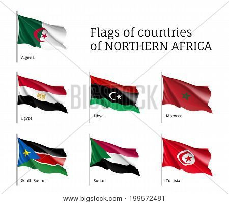 Northern Africa waving flag set, unique symbol for a country, identity and heritage, teaching tool, visually stimulating learning atmosphere. Illustration on white background