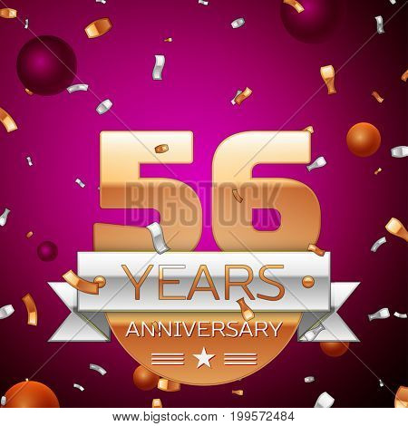 Realistic Fifty six Years Anniversary Celebration Design. Golden numbers and silver ribbon, confetti on purple background. Colorful Vector template elements for your birthday party