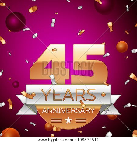 Realistic Forty five Years Anniversary Celebration Design. Golden numbers and silver ribbon, confetti on purple background. Colorful Vector template elements for your birthday party