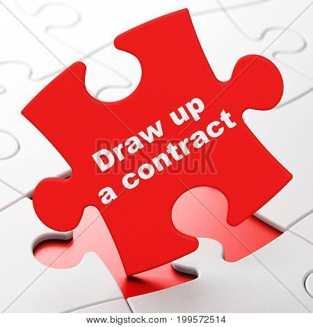 Law concept: Draw up A contract on Red puzzle pieces background, 3D rendering