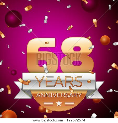 Realistic Sixty eight Years Anniversary Celebration Design. Golden numbers and silver ribbon, confetti on purple background. Colorful Vector template elements for your birthday party
