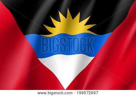 Flag Antigua Barbuda realistic icon. State insignia of the nation in realistic style on the entire page. National symbol in the form of a vector illustration