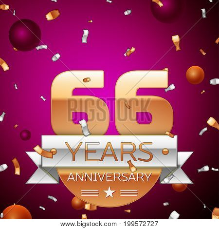 Realistic Sixty six Years Anniversary Celebration Design. Golden numbers and silver ribbon, confetti on purple background. Colorful Vector template elements for your birthday party