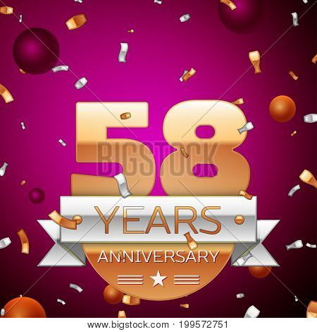 Realistic Fifty eight Years Anniversary Celebration Design. Golden numbers and silver ribbon, confetti on purple background. Colorful Vector template elements for your birthday party